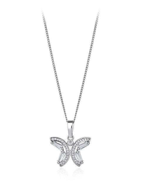 Tophills Diamond Co. 1,60 Ct Pırlanta Efekt Altın Butterfly Trapes Kolye Renkli